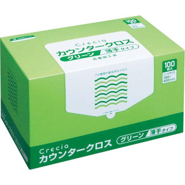 【メーカー在庫あり】 日本製紙クレシア(株) クレシア カウンタークロス 薄手タイプ グリーン 65412 HD