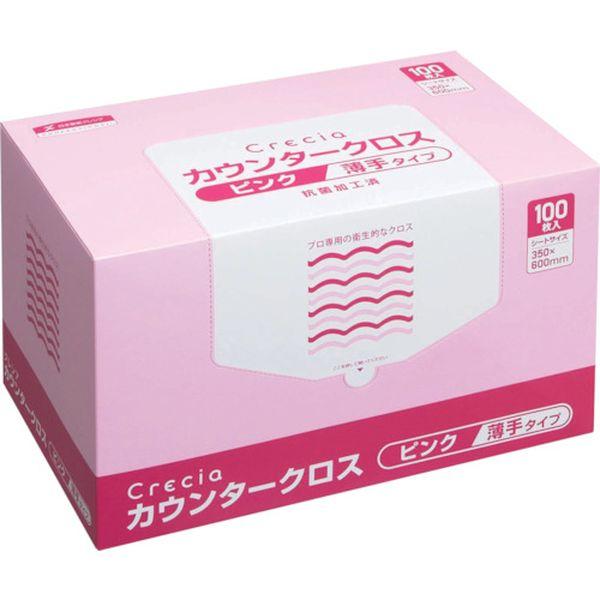 【メーカー在庫あり】 日本製紙クレシア(株) クレシア カウンタークロス 薄手タイプ ピンク 65422 HD