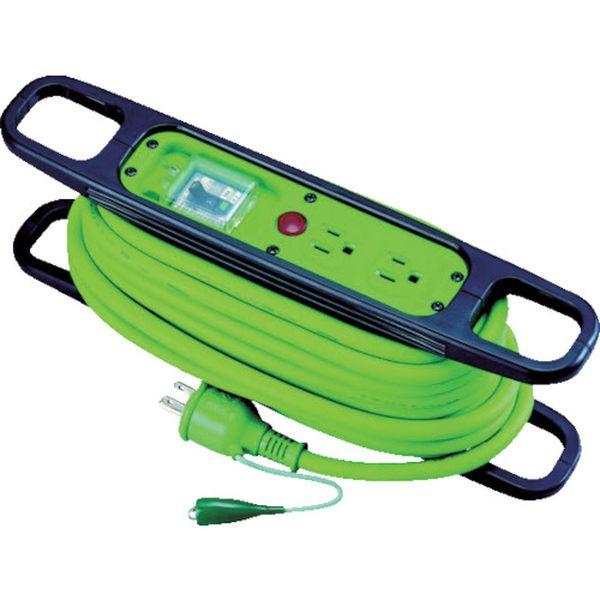【メーカー在庫あり】 日動工業(株) 日動 ハンドリール 100V 3芯×10m 緑 アース漏電しゃ断器付 HR-EB102-G HD