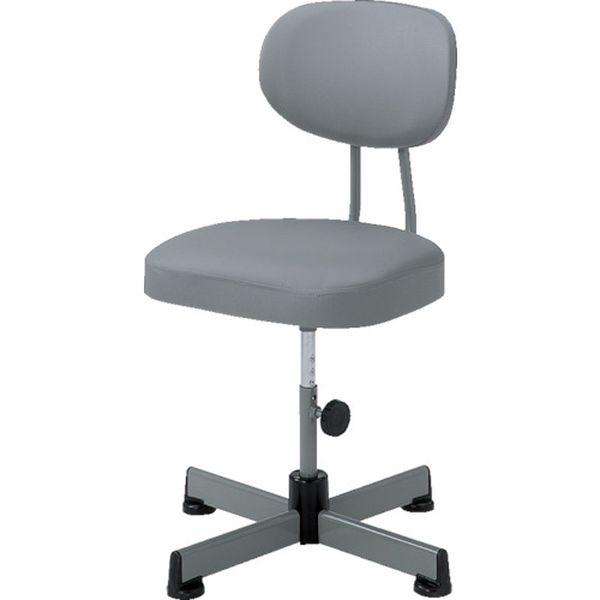 【メーカー在庫あり】 トラスコ中山(株) TRUSCO 事務椅子 ビニールレザー張り キャスター無 グレー L-90Z HD