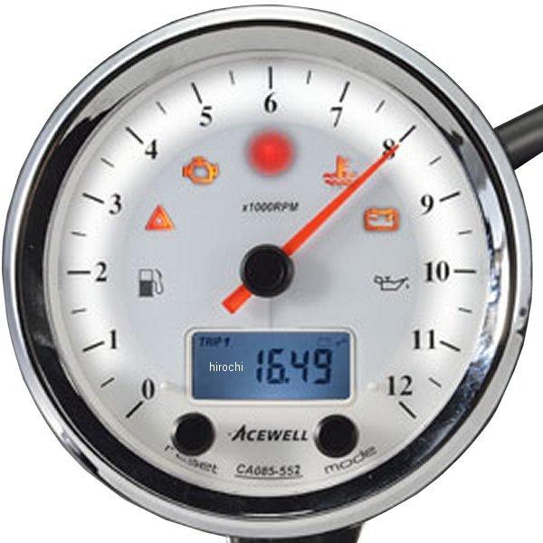 エースウェル ACEWELL 多機能デジタルメーター 9000RPM 白パネル CA085-452-W JP店