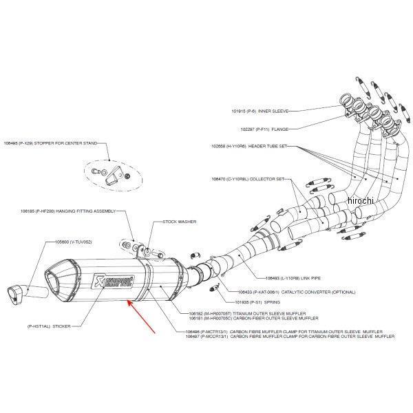 アクラポビッチ AKRAPOVIC リペアサイレンサー レーシング/エボリューションライン E1仕様 ヘックス 06年以降 FZ-1 カーボン M-HR00705C JP店