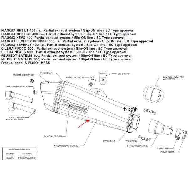 アクラポビッチ AKRAPOVIC リペアサイレンサー ZAA-TYPEステン E1仕様 65/400/45 ピアッジオ M-HZAA00202SS JP店