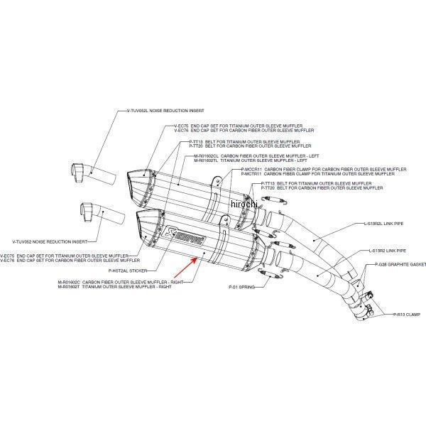 アクラポビッチ AKRAPOVIC リペアサイレンサー R-TYPE 右側 08年以降 ハヤブサ GSX1300R カーボン M-R01602C JP店