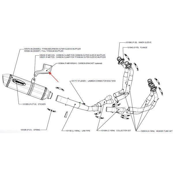 6R2/A1 アクラポビッチ AKRAPOVIC (AKRAPOVIC)サイレンサーステーレーシング/エボリューションライン 03年-05年 YZF-R6 カーボン P-MBY JP店