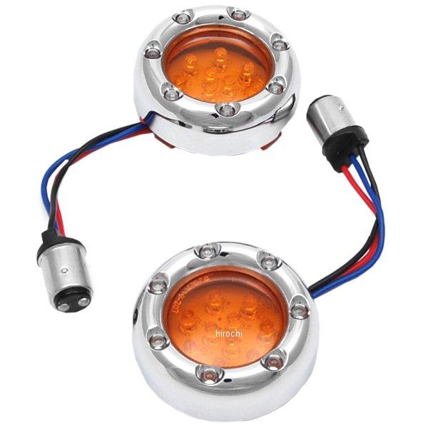 【USA在庫あり】 アレンネス Arlen Ness LED ウインカーリング ダブル球仕様 クローム/オレンジ/白 12-757 JP店