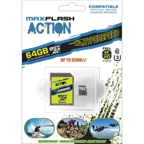 【USA在庫あり】 SD64GRFU3M-A MaxFlash 64GB 高品質 マイクロSD メモリカード 910009 JP