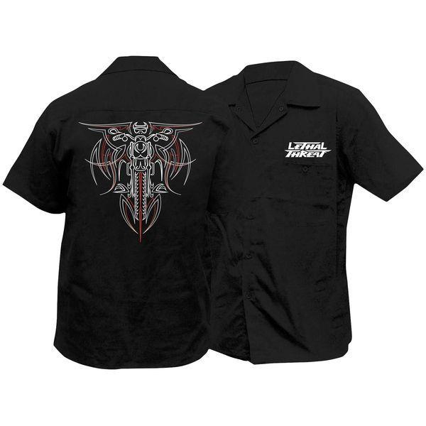 【USA在庫あり】 Lethal リーサルスレット Lethal Threat ワークシャツ ピンストライプ バイク Mサイズ 765894 JP