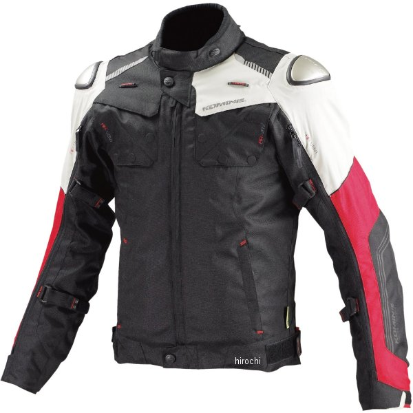 JK-588 コミネ KOMINE 秋冬モデル フルイヤーチタニウムジャケット 黒/赤 Mサイズ 4573325724563 JP店