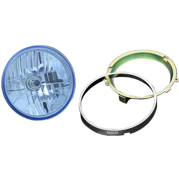 ピーエムシー PMC BRIGHTEC マルチリフレクター ヘッドライト ラウンドタイプ H4 180φ インナーリム付き 汎用 青 71-0096 JP店