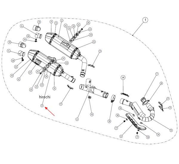 アクラポビッチ AKRAPOVIC リペアサイレンサー Q-TYPE 右側 14年以降 CRF250R M-Q04506TR JP店