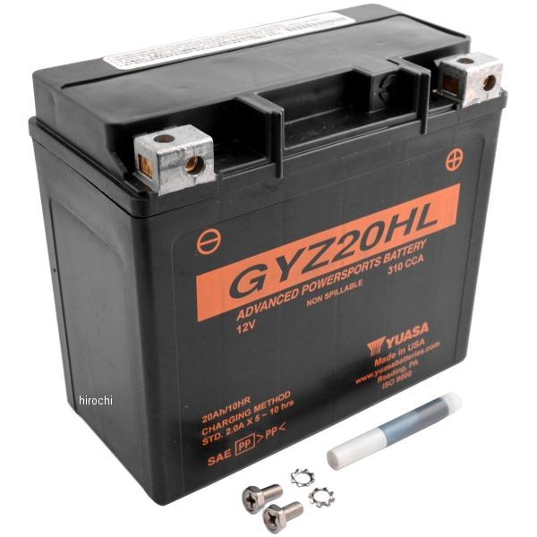 【USA在庫あり】 GYZ20HLUSA ユアサ YUASA バッテリー GYZ メンテナンスフリー 91年以降 FXST、FLST、ダイナ (最高級版) 581371 JP店