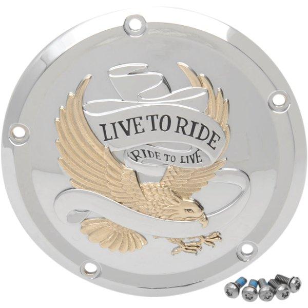 【USA在庫あり】 DRAG ダービーカバー 16年以降 ツーリング LIVE TO RIDE クローム/ゴールド 1107-0555 JP店