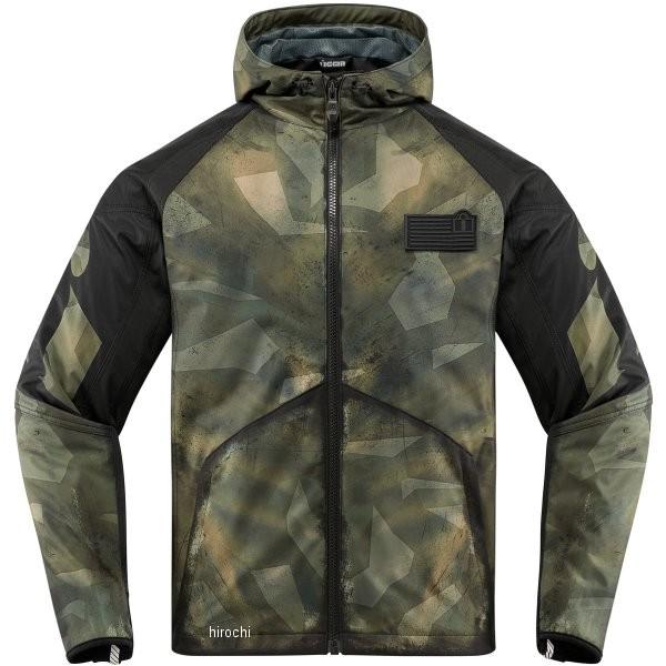 【USA在庫あり】 アイコン ICON 秋冬モデル ジャケット Merc Battlescar グリーン Sサイズ 2820-4494 JP店