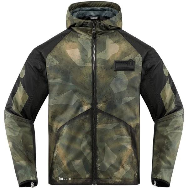 【USA在庫あり】 アイコン ICON 秋冬モデル ジャケット Merc Battlescar グリーン 2XLサイズ 2820-4498 JP店