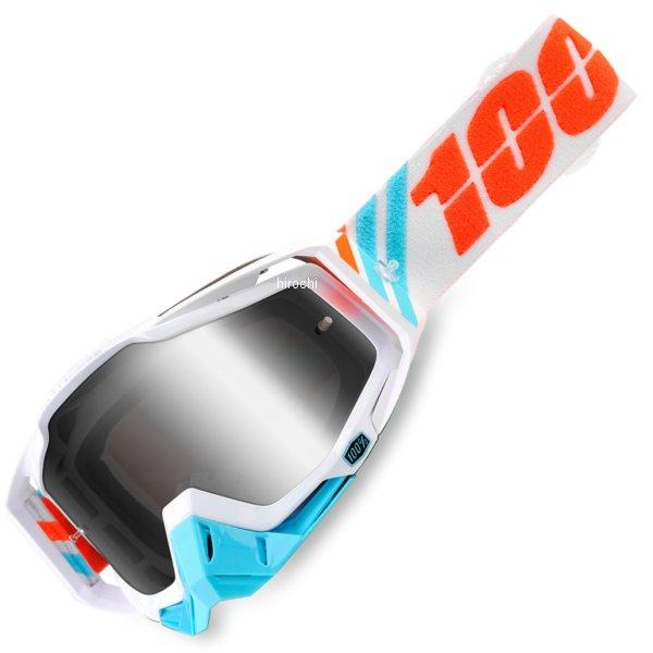 【USA在庫あり】 100パーセント 100% ゴーグル Racecraft Calculus Ice/シルバーミラーレンズ/白 青 オレンジストラップ 2601-2253 JP店