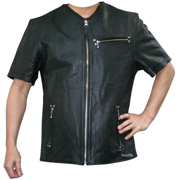 モトフィールド MOTO FIELD 春夏モデル パンチングVネックレザーTシャツ 黒 LLサイズ MF-LT010P JP店