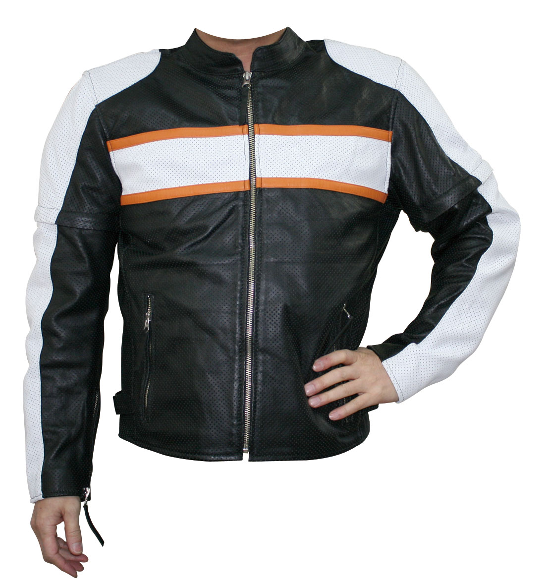 モトフィールド MOTO FIELD 春夏モデル シープパンチングレザージャケット 黒/白 Lサイズ MF-LJ019P JP店