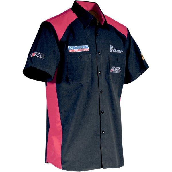 【USA在庫あり】 スロットルスレッズ Throttle Threads ショップシャツ Team Parts Unlimited 黒/赤 Lサイズ 3040-1118 JP店