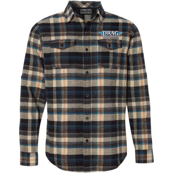 【USA在庫あり】 スロットルスレッズ Throttle Threads シャツ フランネル Drag Specialties カーキ/チェック柄 XLサイズ 3040-2329 JP店