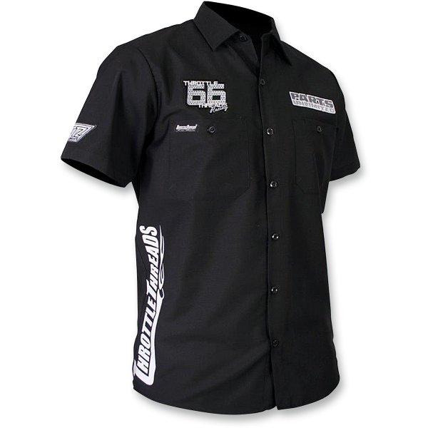 【USA在庫あり】 スロットルスレッズ Throttle Threads ショップシャツ Snow 黒 Sサイズ 3050-2976 JP店