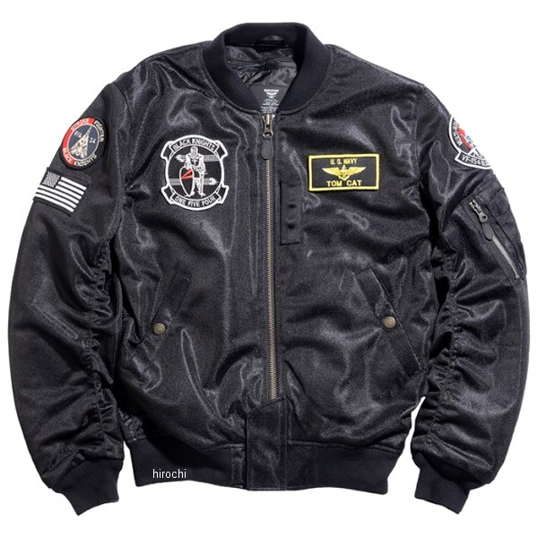 ヒューストン HOUSTON 2020年春夏モデル メッシュジャケット MA-1 BLACK KNIGHTS MESH M/C 黒 3XLサイズ HTVA2021SBK3 JP店