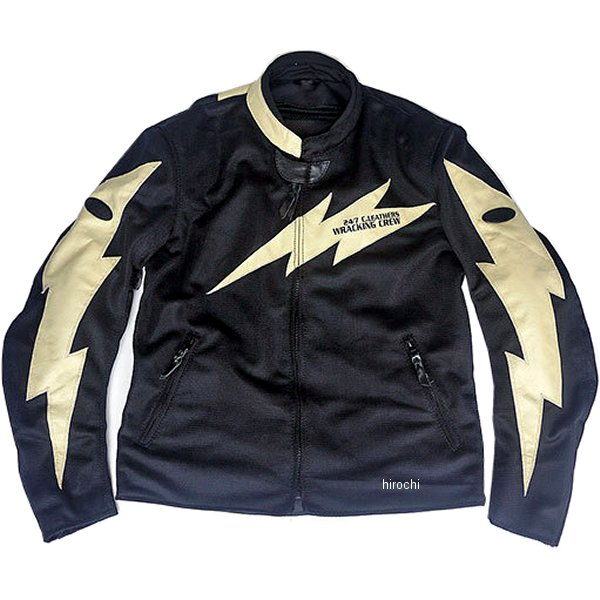 TFJ1901 トゥエンティ・フォー・セブン カスタムレザース 24/7 Custom Leathers メッシュジャケット 黒/アイボリー Sサイズ TFJ1901-BK-IV-S JP店