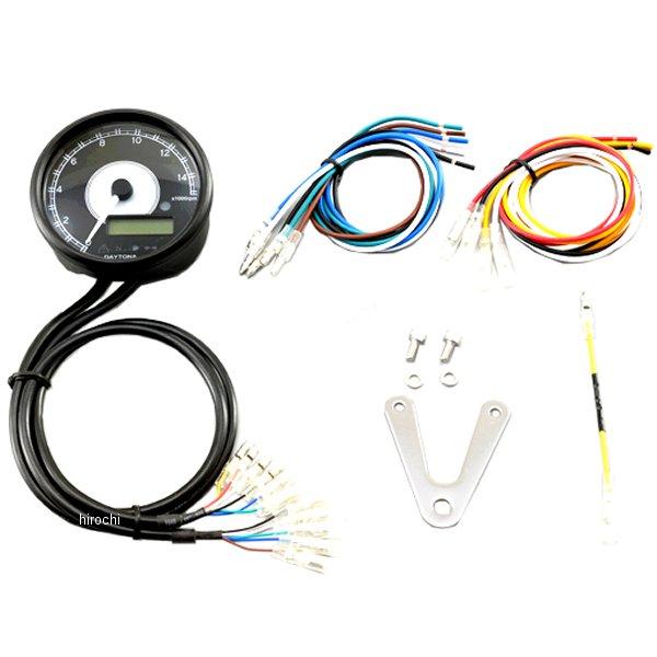 デイトナ ヴェローナ 電気式タコメーター&スピードメーター φ80 15000rpm 黒 白LED 21978 JP店