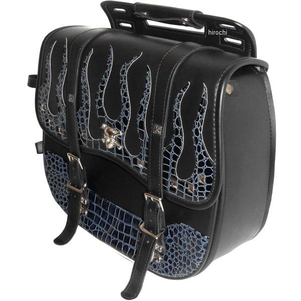 クロス Xross サドルバッグ シングル 黒 ブルークロコダイル フレア シルバースカル YFF-203-3S JP店