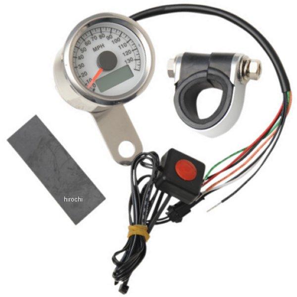 【USA在庫あり】 DRAG 1.87インチ(47mm) 電子スピードメーター、オド/トリップメーター付き(140MPH) ポリッシュ/白 2210-0173 JP