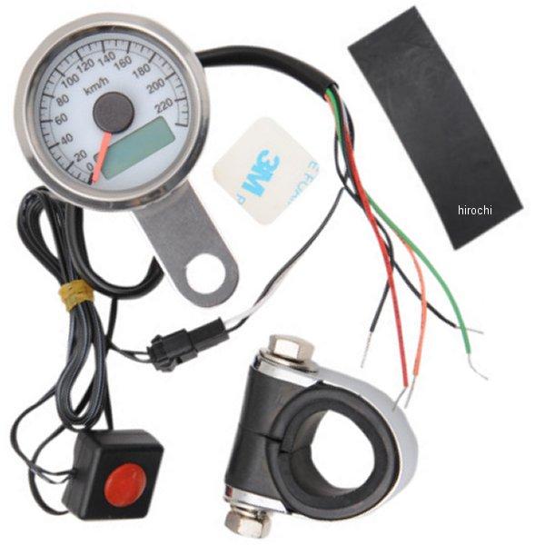 【USA在庫あり】 DRAG 1.87インチ(47mm) 電子スピードメーター、オド/トリップメーター付き(240km/h) ポリッシュ/白 2210-0325 JP