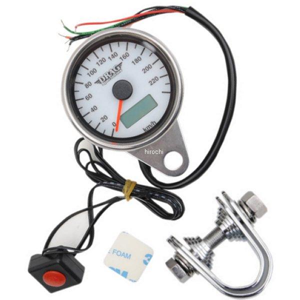 【USA在庫あり】 DRAG 2.37インチ(60mm) 電子スピードメーター、オド/トリップメーター付き(240km/h) ポリッシュ/白 2210-0327 JP