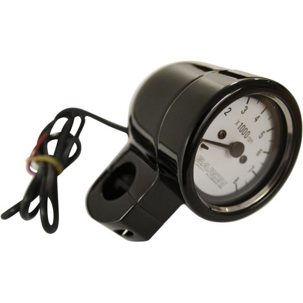 【USA在庫あり】 バロン BARON タコメーター 8000rpm 1インチ(25mm)バー 黒ボディー/白 2211-0134 JP店