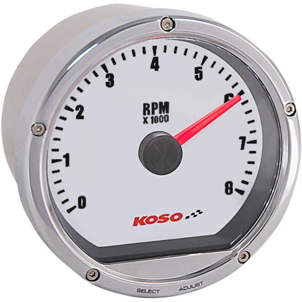 【USA在庫あり】 コソ KOSO 電子タコメーター(0-8000) ハーレー用 クローム/白 2211-0139 JP