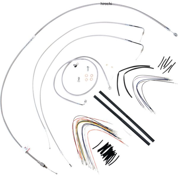 【USA在庫あり】 バーリーブランド Burly Brand ケーブル キット ステンレス 07年-10年 FXSTB、FXSTC 16インチ エイプバー用 773115 JP店