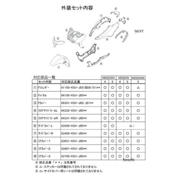【メーカー在庫あり】 NTB 外装10点セット フォルツァ250 黒 TBH-06K/B JP