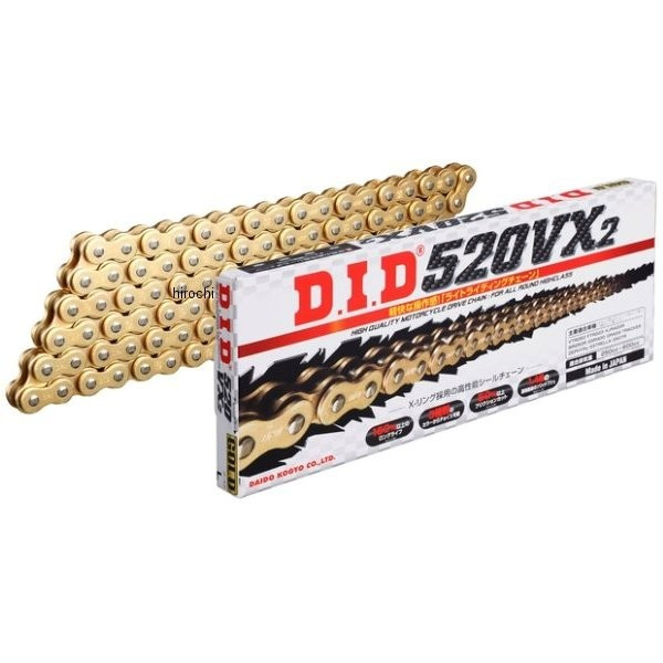 4525516372343 DID 大同工業 チェーン 520VX2 VXシリーズ ゴールド (138L) クリップ 520VX2-138L-GD-FJ JP店