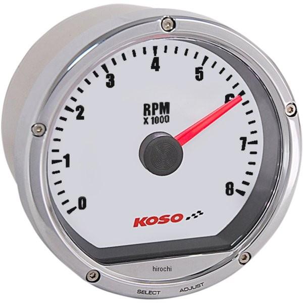 【USA在庫あり】 コソ KOSO TNT-01R タコメーター 8000rpm クローム/白 2211-0141 JP店