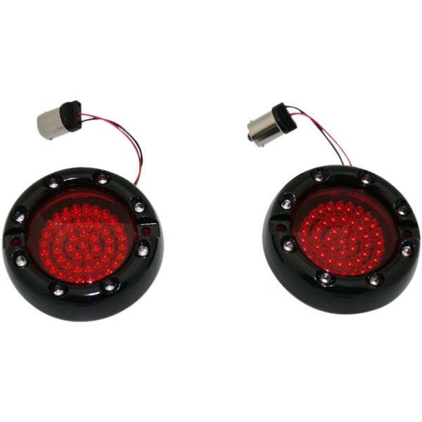 【USA在庫あり】 カスタム ダイナミクス LEDウインカー フラット シングル球 黒 赤/赤/赤レンズ 2020-1241 JP店