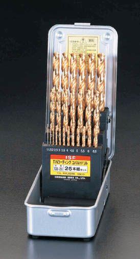 【メーカー在庫あり】 エスコ ESCO 1.0- 13mm ドリルセット 25本組/Tin Co-HSS 000012020996 JP店