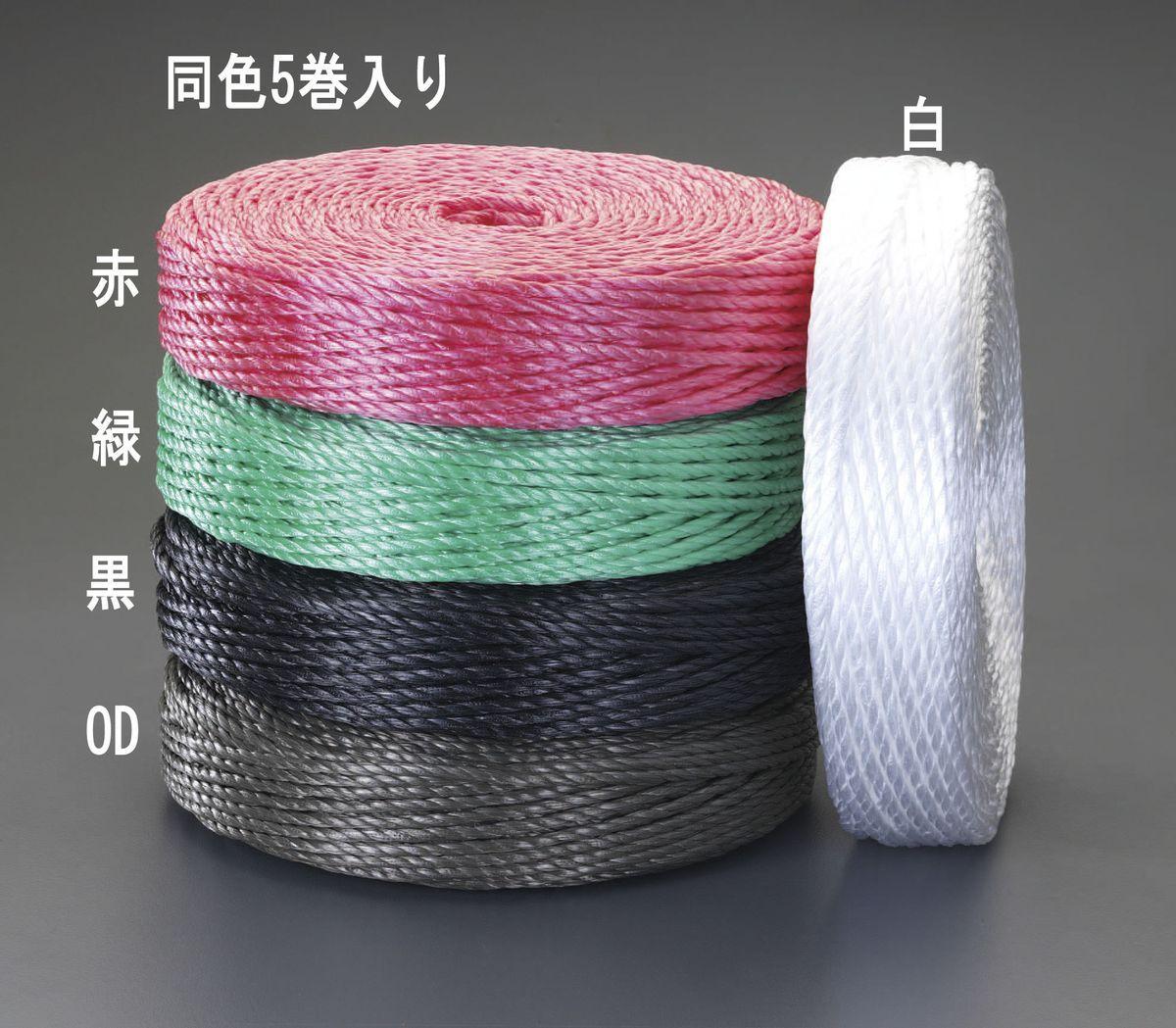 【メーカー在庫あり】 エスコ ESCO 6.0mmx200m PPロープ(黒/5巻) 000012087149 JP店