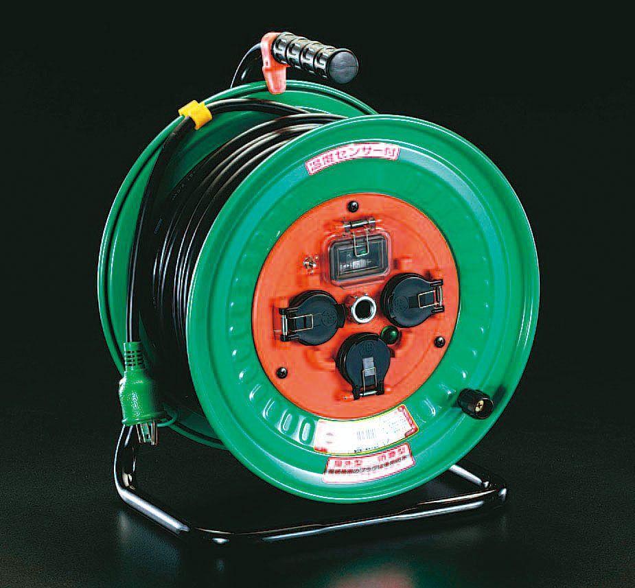【メーカー在庫あり】 エスコ ESCO AC100V/15A/30m 電工ドラム 漏電遮断/防雨 000012006109 JP店