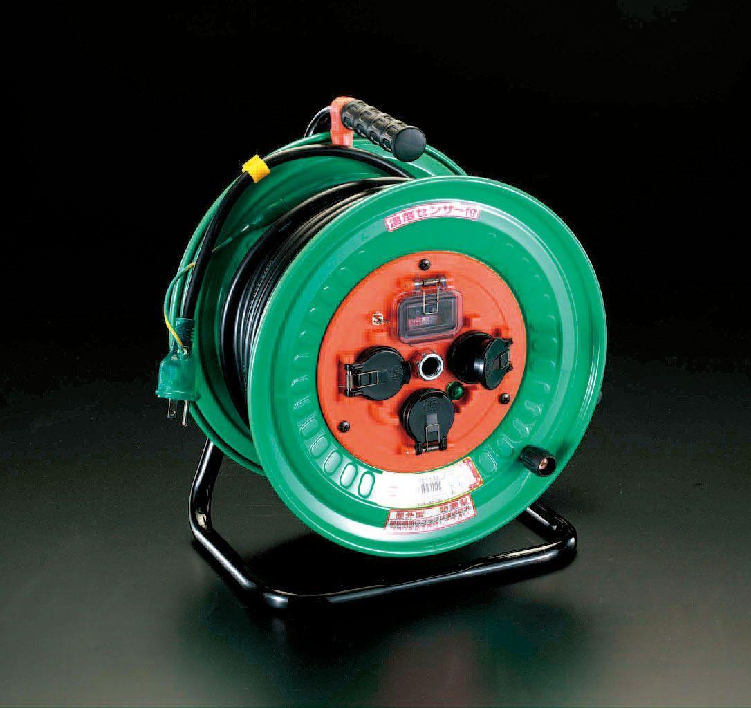 【メーカー在庫あり】 エスコ ESCO AC100V/15A/30m 電工ドラム 過負荷遮断/防雨 000012020042 JP店