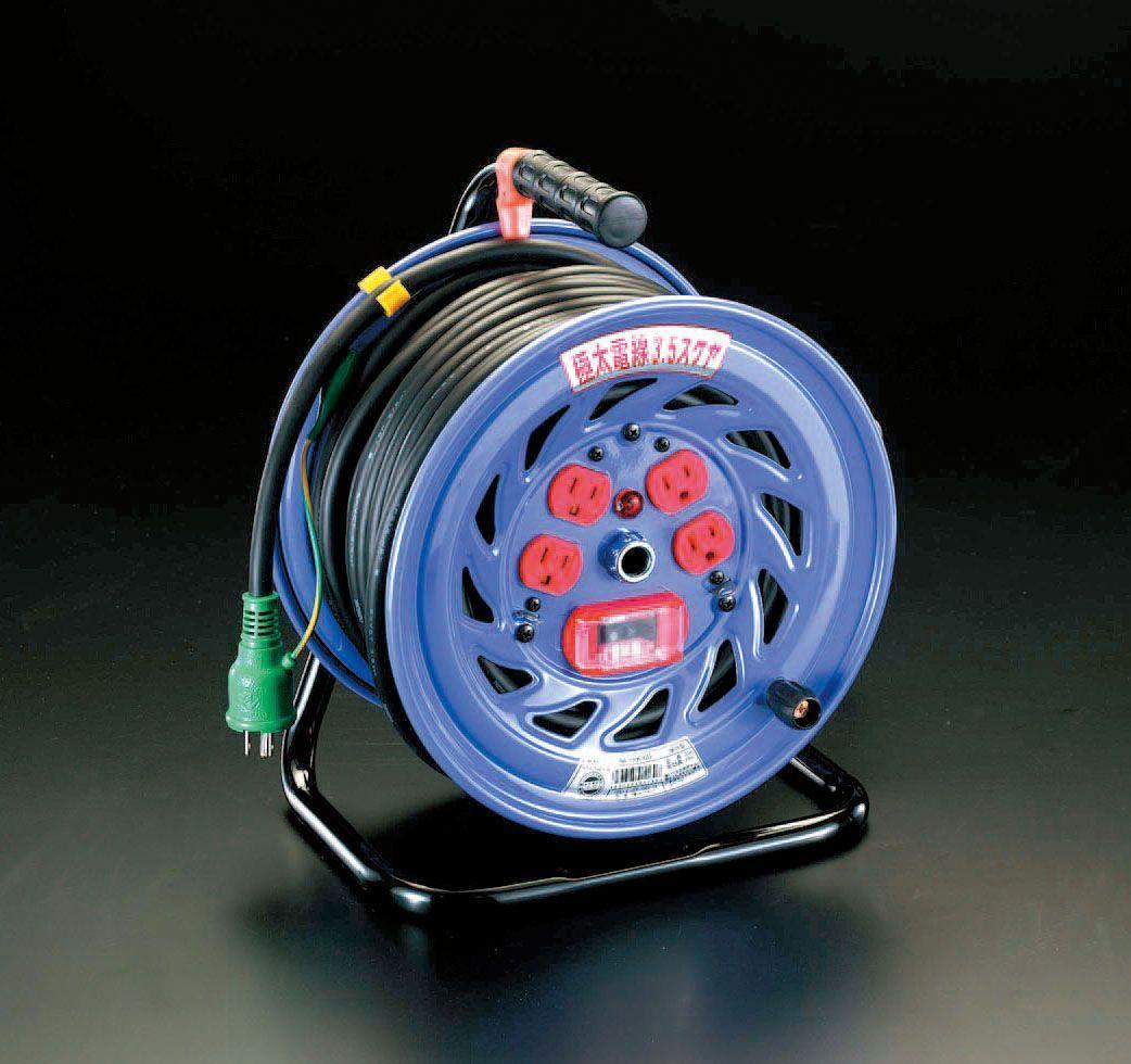 【メーカー在庫あり】 エスコ ESCO AC100V/15A/30m コードリール 極太/過負荷遮断 000012020062 JP店