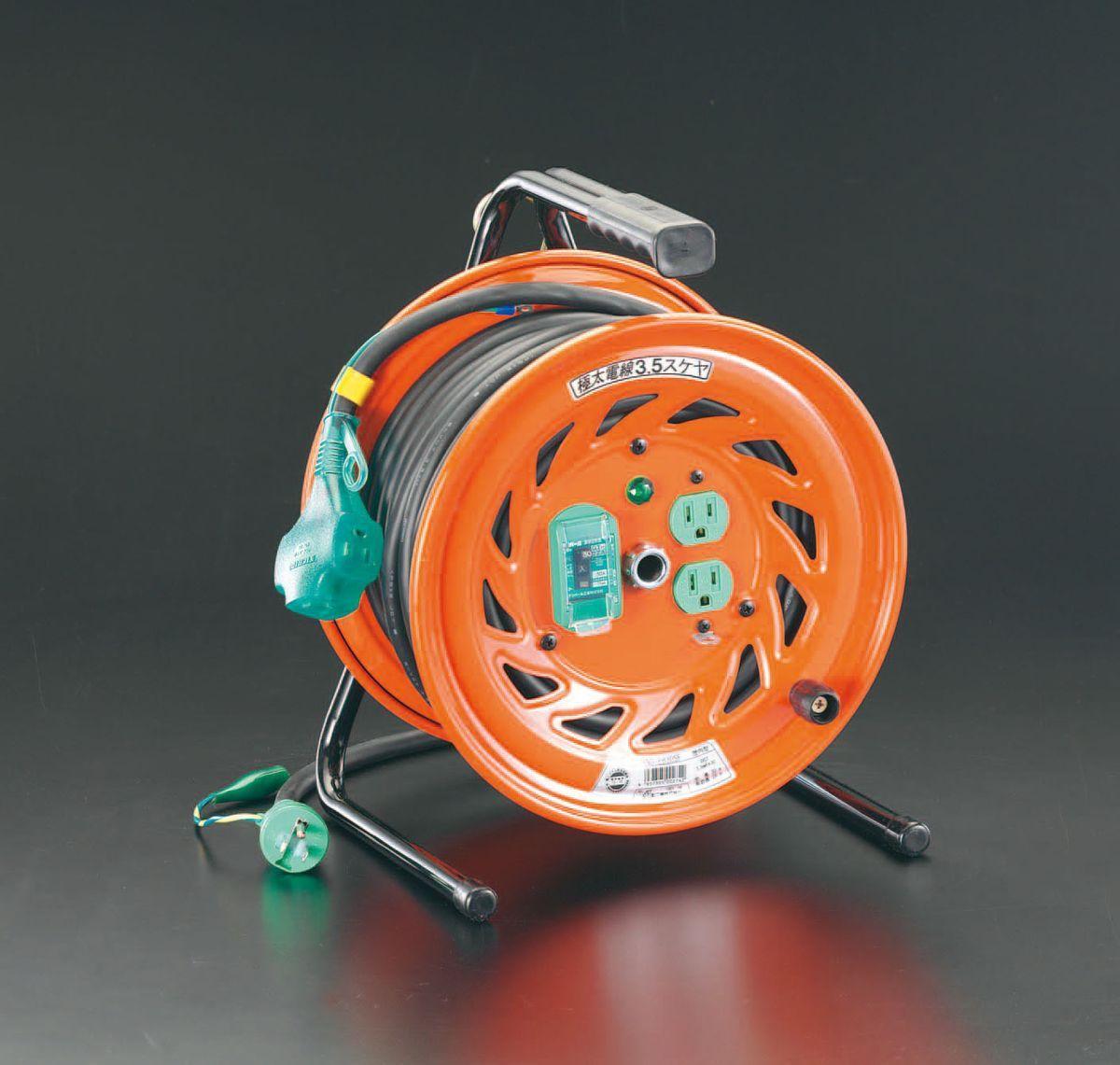【メーカー在庫あり】 エスコ ESCO AC100V/15A/30m コードリール 極太/漏電遮断 000012037580 JP店