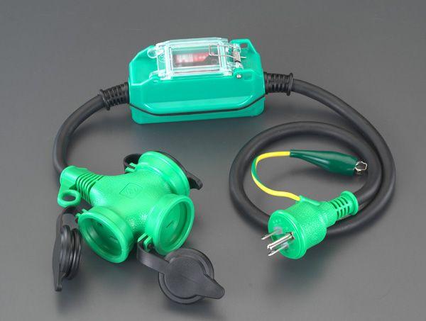 【メーカー在庫あり】 エスコ ESCO 15A/1m 防雨型 過負荷・漏電保護兼用プラグ 000012091389 JP店