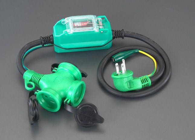【メーカー在庫あり】 エスコ ESCO 15A/1m 防雨型 過負荷・漏電保護兼用プラグ 000012091390 JP店