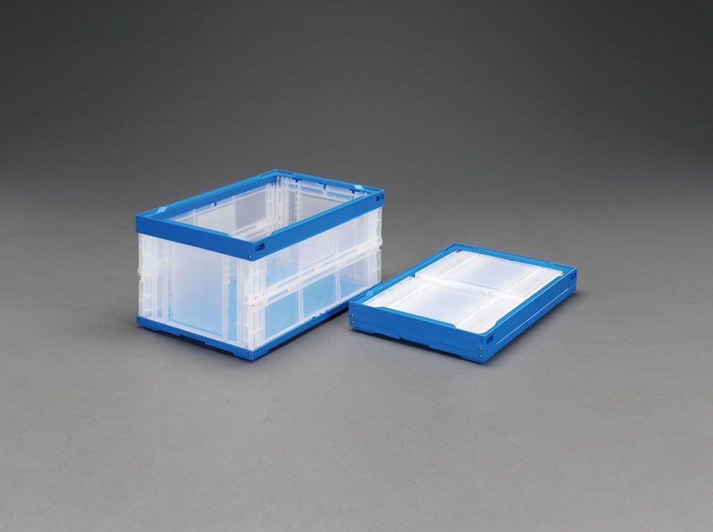 【メーカー在庫あり】 エスコ ESCO 530x366x271mm/40.0L 折畳コンテナ(透明 青/2個 000012002925 JP