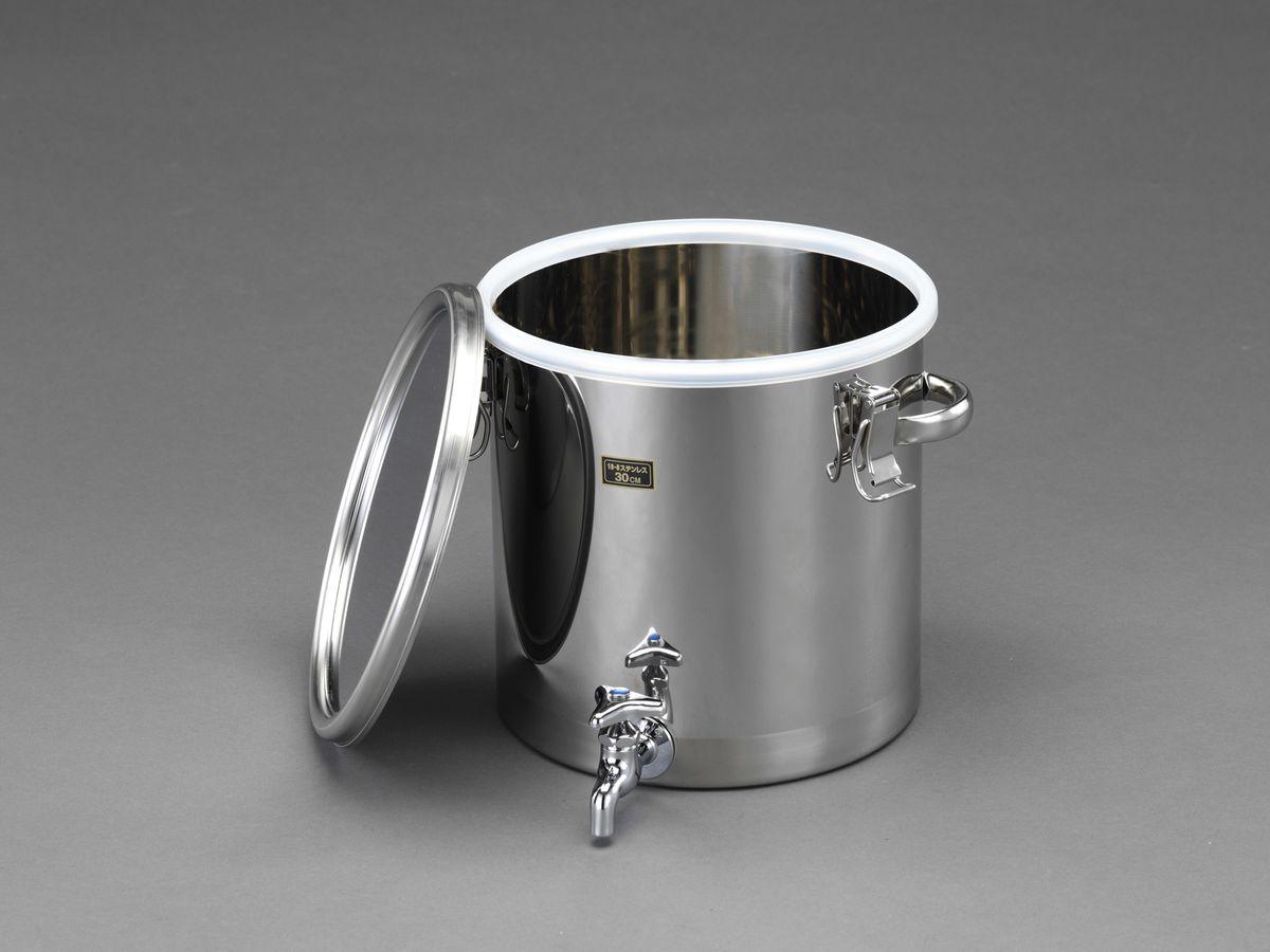 【メーカー在庫あり】 エスコ ESCO φ300x300mm 丸形容器(蛇口付/ステンレス製) 000012262657 JP