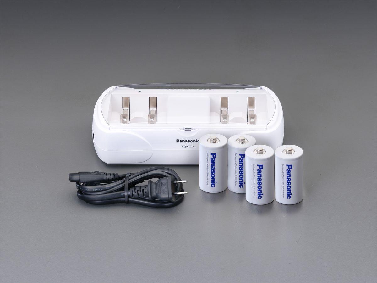 【メーカー在庫あり】 エスコ ESCO 単1-単4 充電器セット(ニッケル水素 単2x4本付 000012247031 JP店